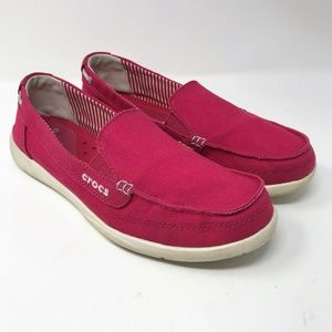 Crocs 9W Slip On Canvas Flats / Loafer Shoes Pink